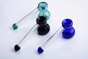 Colorido Hierba de Especia Pipa de Tabaco Cuchara Tubos de vidrio para fumar Tubos Bubbler color aleatorio enviar