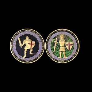 20 STÜCKE Vereinigten Staaten Marine Military Souvenir Münzen Rüstung von Gott Verteidigen Sie den Glauben Herausforderung Münze Vergoldet Handwerk