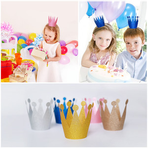 Wholesale-12pcs lot Adult Child Crown Cap Party Supplies Birthday Party Baby Shower Hat Prince and Princess Shiny Plastic
