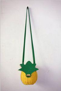 DHL Messenger Bags Women Straw Handbag Cute Fruit Bag Pineapple Package Pure Hand-Made Woven Circular