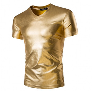 Man popolare nightclub moda T-shirt manica corta con scollo a V oro argento colore nero Le tendenze del design T-shirt per il tempo libero in cotone solido