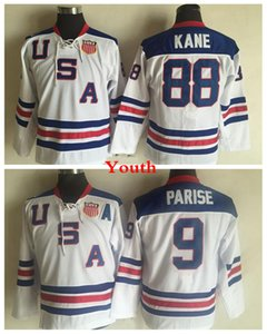 Juventude 2010 Olímpicos Equipe hóquei dos EUA Jerseys # 88 Patrick Kane Crianças # 9 Zach Parise Marinho Branco azul dos EUA Meninos costurado Hockey Jersey