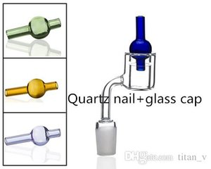 Set of 2 XXL Quartz Thermal Banger&Colored Glass Bubble Carb Cap 10 14 19mm Double Tube Quartz Thermal Banger Nail Thermal Banger Wholesale