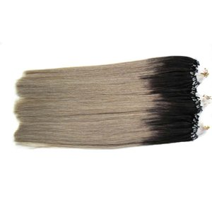 T1B / Grey Rey ombre pelo humano 300g micro perlas extensiones de cabello 1g / s plata ombre micro extensiones de cabello 300s 7a micro bucle brasileño extensión
