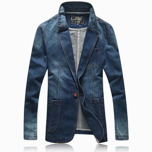 Wholesale- Hot 2016 spring autumn casual Blazer men tidal current male slim fit denim suit single button jean jacket coat light blue 4XL