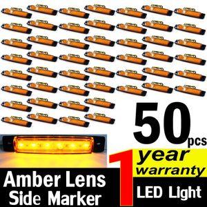 50X العنبر 12V 6 أضواء LED ماركر الجانبية سيارات شاحنات الحافلات شاحنة مقطورة التخليص