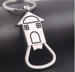 Ev Şeklindeki Şişe Açacağı Anahtarlık şekilli çinko alaşım Gümüş Renk Anahtarlık Bira Şişe Açacağı Benzersiz Yaratıcı Hediye
