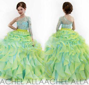 Рэйчел Аллан 2017 Glitz Little Girls Pageant Платья бальное платье одно плечо хрустальные бусы два цвета из органзы дети цветок девушки платье