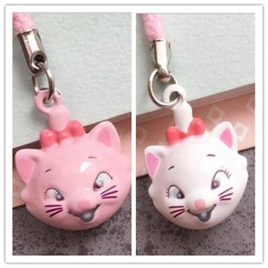 Nuovo 50PCS Pink / White Carino Neko Bell Mobile Cell Phone Charm Cartoon Lovely Marie Cat Head