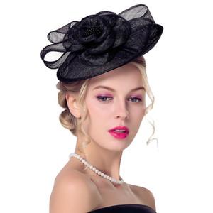 2019 새로운 도착 클래식 흑백 결혼식 신부 모자 매혹적인 Sinamay 모자, 꽃과 켄터키 더비 여성 파티 결혼식