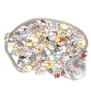 50 pc / lotto di vendita di disegno della miscela galleggianti fascini di vetro Living Memory Locket del pendente DIY Floating fascini Medaglioni gioielli e accessori