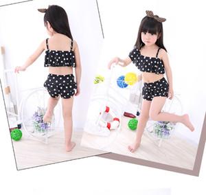 Traje de baño de la muchacha de los niños Bikini del lunar 3 PC fijó para las muchachas de las muchachas del verano de la princesa Girls Swimwear que nada los trajes del bikiní