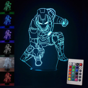 Nueva actualización colorida Iron Man 3D lámpara de mesa Luminaria LED luces nocturnas niños habitación infantil iluminación decorativa gran regalo para niños
