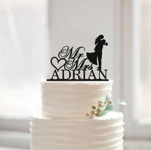 All'ingrosso-Modern Wedding Cake Topper con Cognome, sposa e dello sposo Silhouette Cake Topper, i coniugi Cake Topper