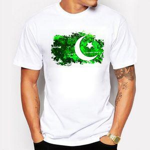 العلامة التجارية الملابس الصيفية الرجال تي شيرت باكستان العلم طباعة القطن الحنين نمط رجل القمصان المعجبين باكستان يهتف الرجال القمم