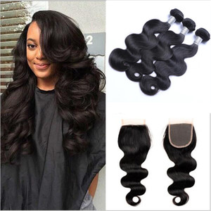 Brazilian Hair Bundles with Closure 8-30inch Double Weft Human Hair Extensions Dyeable Remy Virgin Hair Weave Body Wave Wavy