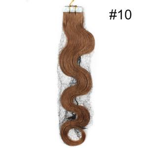 8A-Pu Tape in Hair extension / 100 ٪ ريمي الشعر البشري ، 18inch 2.5G للقطعة الواحدة 4 # 60 قطعة اللون 10 # 20pcs ، موجة الجسم 200G