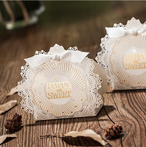 Wedding Favor Boxes Novelty Ivory Lace with Bowknot Paper Candy Favors 75*108*38mmWrap Wedding Party Supplies