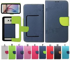 محفظة جلدية PU فليب حالة عالمية مع حامل بطاقة الائتمان لمدة 3.5 إلى 6.0 بوصة 6 حجم 12 لونا قضية الهاتف الخليوي المحمول