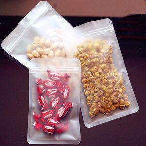 100pcs / Lot givrée en plastique transparent Zipper verrouillage sac transparent mat Fermeture à glissière PE Poly Pouches Paquet Aliment séché bonbons noix Sac d'emballage