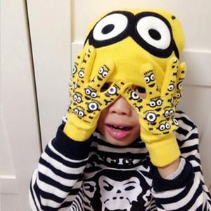 Minions Eldiven Bere Set Çocuk Kış Karikatür Moda Örme Çocuklar için Eldiven Eldiven Şapka Set Caps