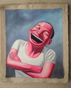 Encadré Sourire visage # 004, Pure Handcraft Portrait art peinture à l'huile Sur Toile de haute qualité pour décoration murale en Multi tailles