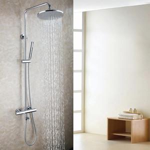 노출 된 목욕 온도 조절 샤워 믹서 꼭지 세트 10 인치 라운드 비 샤워 욕실 샤워 헤드 브래스 경감 님이 핸드 샤워 2105