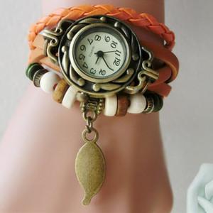 Venda quente PU Relógio De Couro Do Vintage Mulheres Pulseira Relógio Folha Pingente de Relógio de Pulso Das Senhoras Das Mulheres de Quartzo atacado Frete grátis
