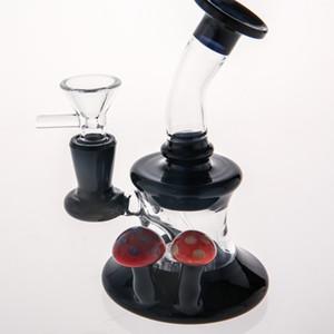 Luxus Black Glass Bongs passenden roten Pilz schöne mundgeblasene Becher Ölplattformen Wasserpfeifen Recycler berauschende Rauchen Wasser Bong Glas Wasserpfeifen
