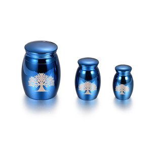 3 boyutu (S / M / L) 5 adet / grup Ucuz Toptan Mavi Paslanmaz Çelik Mini Anıt Urn Takı pet tutun / İnsan Kremasyon Külleri Cenaze Locket Takı