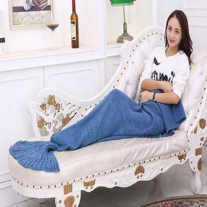 Crochet Mermaid Tails Manta Mermaid 180 * 90cm Hecho a mano Colchón de punto Saco de dormir de dibujos animados Sofá Manta Mermaid Tail Envío gratis de DHL