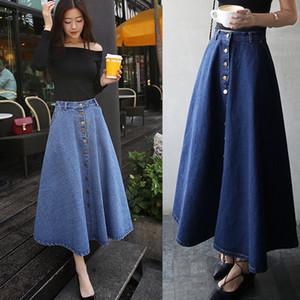 Estilo Casual Denim Mulheres da Moda de Nova saias longas Único Breasted Botões Um Jeans Linha Saias cintura alta Buttons saias longas JHJ