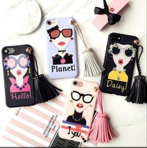 Mode westlichen Mädchen Göttin Silikon-Tassel Nieten Telefon-Kasten Sonnenbrille Telefon-Abdeckung für iphone 6 6S Plus-6Plus iphone 7 7Plus