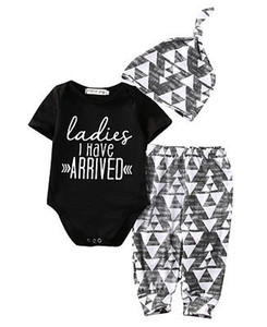 Wholesale- autumn New baby boy clothes Newborn Baby Girl Boy Cotton Romper +Pants +Hat Outfits Toddler Clothes Set