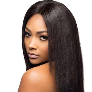 Avant de lacet perruques de cheveux humains Indian Light Yaki Full Lace perruques de cheveux humains Natural Color brésilien cheveux péruvien