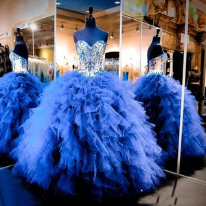 2018 Quinceanera Dresses Luxury Cascading Ruffles Organza Royal Blue 16 Sweet Ball Gowns Beaded Crystal Prom Dress Pageant Shiny