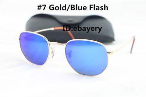 Alta Qualidade Da Moda Hexagonal De Metal Óculos De Sol Para Homens Das Mulheres Irregular Óculos De Sol Azul Espelho 51mm Lente De Vidro Com Melhor Marrom Casos