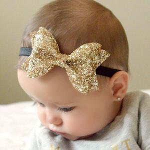 NEW младенческой ребёнки Большого Блеск Shiny блестки лук ободки узел Малыш Весна Эластичного Hairwrap Детская принцесса Аксессуары для волос РОЖДЕСТВО