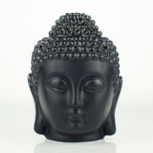 Wholesale- Ceramic oil burner, Buddha head oil station, black and whiteTemple   Home