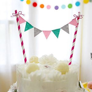 Al por mayor-Rainbow Palette Flag Garland Cake Topper Bunting Set para niños Feliz cumpleaños Fiesta Decoración Suministros Baby Shower Celebration