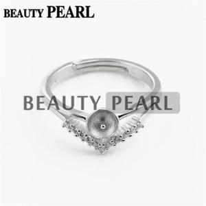HOPEARL Schmuck Ring Blank Zircon 925 Sterlingsilber-Dreieck wie ein Krone-Perlen-Ring-Einfassung 3 Stück