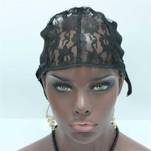 In Stock 5pc / lot Tappo per tessere fatto a misura di colore nero Cappuccio per parrucche di colore nero per fare parrucche con cinturino regolabile sul retro