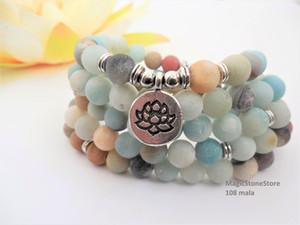 108 mala bracelet nature stone amazonitebracelet mala meditation lotus bracelets healing zen spiritual yoga necklace prayer necklace