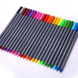 24 Pçs / set Cor 0.4mm Caneta Fina Marcadores de Fibra Marcadores Esboço Copic Desenho Art Pintura Profissional Caneta de Feltro Ponta Fina