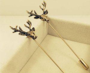 Vintage Hirschkopf Broschen Pins für Männer Tier lange Nadel Corsagen für Hochzeit Party Geburtstag Geschenke Gold zwei Farben