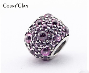 Fits Pandora Bracelets Shimmering Droplets Silver Beads with Pink CZ 100% 925 Sterling Silver Charms DIY Jewelry