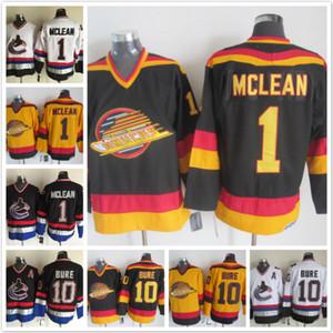 Vintage Vancouver Canucks 1 Kirk Mclean 10 Pavel Bure siyah beyaz sarı Ev Uzakta Buz Hokeyi Formalar