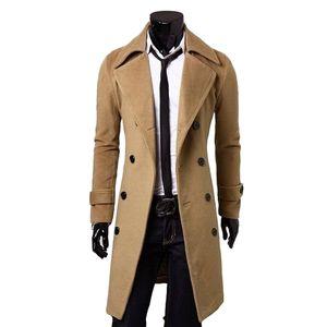 Al por mayor-2016 Nuevos Hombres de la llegada de Invierno Doble Breasted Trench Coat Hombres Trench Coat Slim Fitness Coats Mens Abrigo Largo M-3xl 3 Color