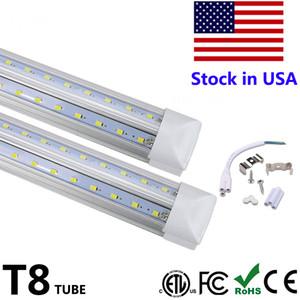 V-образный Интеграция T8 LED Tube 2 4 5 6 8 футов Светодиодные люминесцентная лампа 120W 8ft 4rows LED световых трубок охладителя двери Освещение