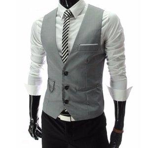 Wholesale- Blazer Vests For Men Slim Fit Suit Sleeveless Business Waistcoat Gilet Homme Casual Colete Masculino Terno Chaleco Vestir Hombre